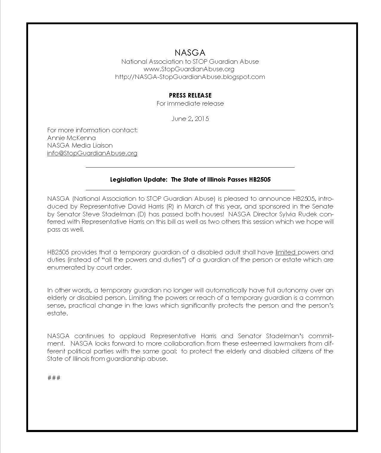 NASGA Legislative Members NASGA – Temporary Guardianship Forms
